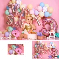 two sweet donuts photography background pink balloons lollipop candy girl 2nd birthday backdrop poster baby shower photo studio