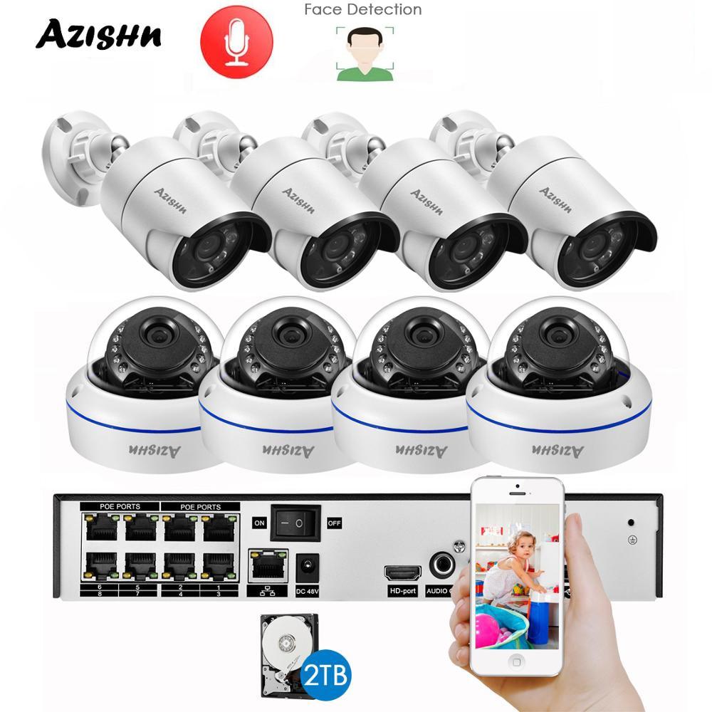 Azeshn-مجموعة المراقبة بالفيديو الداخلية والخارجية ، نظام CCTV H.265 ، 8CH ، POE ، NVR ، 5MP ، IP ، كاميرا قبة ، كشف الوجه ، P2P