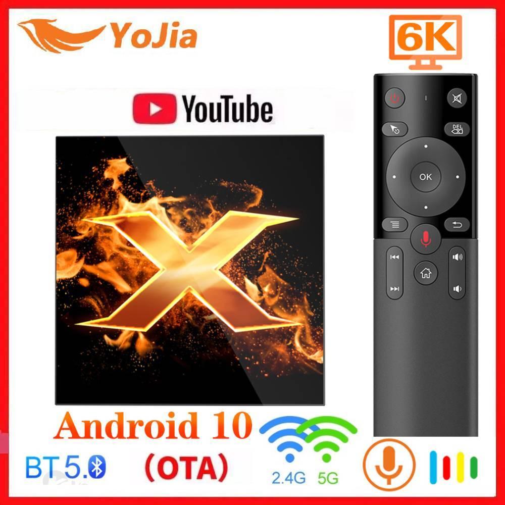 X1 andriod 10.0 caixa de tv android 10 ota bt5.0 6k media player google voz assistente 2.4 & 5g duplo wifi youtube tvbox