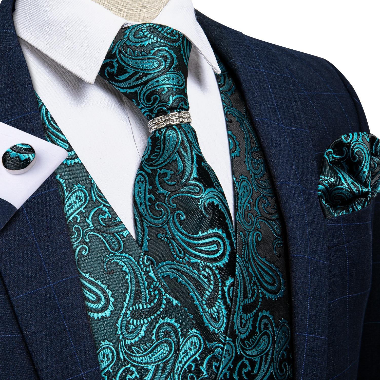 Модный сине-голубой мужской жилет с пейсли, комплект с галстуком-бабочкой и кольцом, Шелковый жаккардовый Свадебный костюм, жилет, повседне...