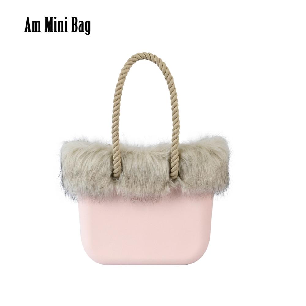 2021 New Winter Autumn Women Ambag Mini Bag Body with Beige Inner Faux Fox Fur Trim Long Rope Handles Obag O Style Totes Handbag
