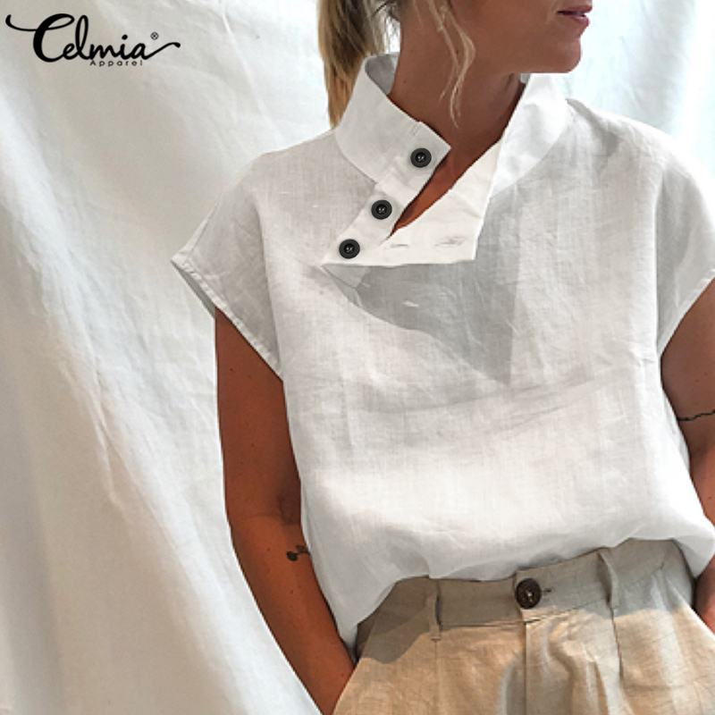 Celmia Stylish Women Shirts 2021 Summer Cotton Linen Oversized Blouses Short Sleeve Blusas Casual Loose Camisas Solid Tunic Top