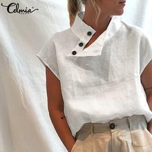 Celmia-Blusa holgada informal de algodón y lino para verano, camisa holgada de manga corta, color liso, 2021