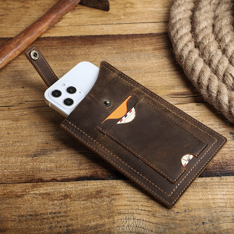 hunting axe hatchet head cover ax blade sheath belt loop holster thick genuine leather coffee color men Waist Bag100% Genuine Leather Cellphone Bag For Men Male Vintage Loop Holster Mobile Phone Cover Case Belt With Card Holders