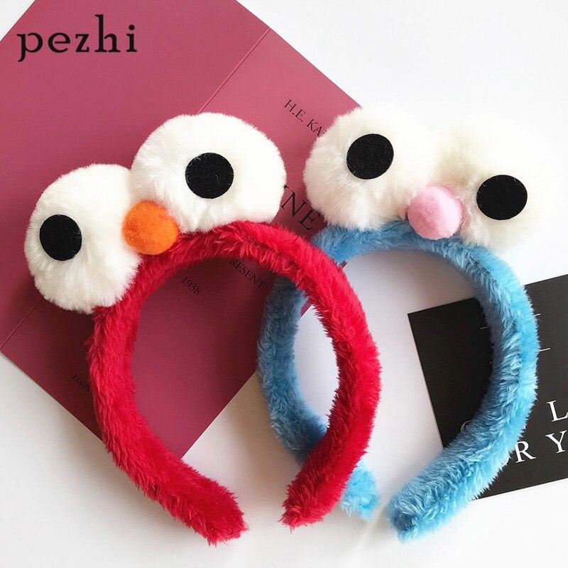 Sesame Street Cartoon Cute Headband New Plush Big Eyes Headband Women's Face Wash Headband Children's Headwear