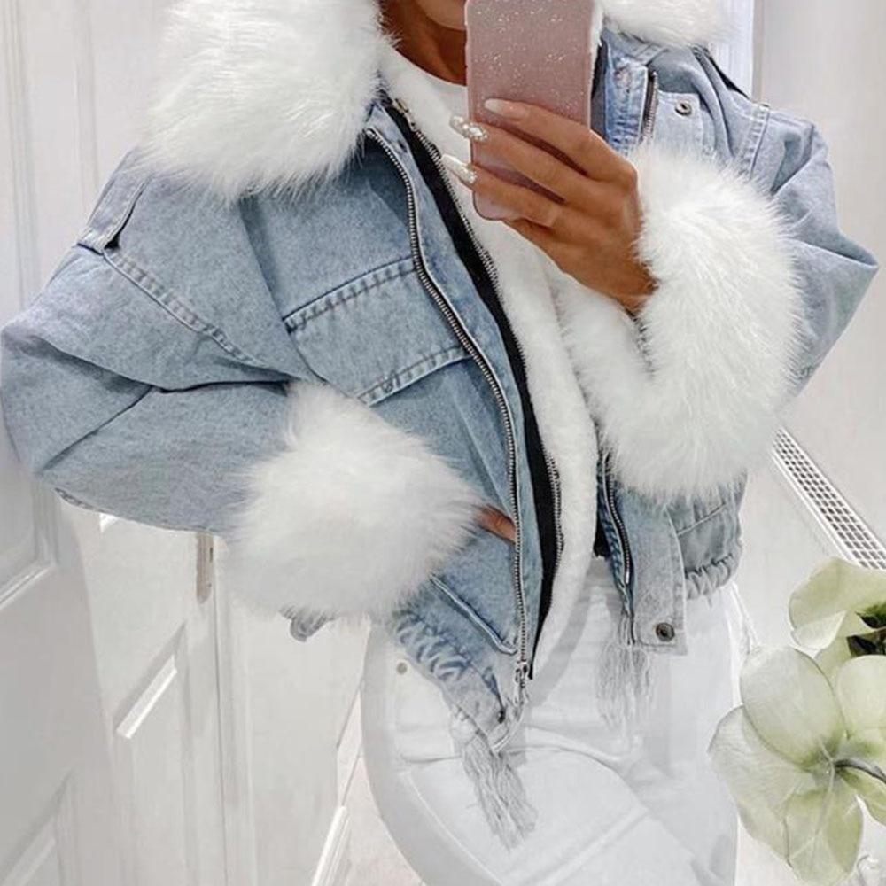 2021 Winter Faux Fur Denim Jas Vrouwen Mode Afneembare Gewatteerde Jassen Oversized Casual Thicken Fleece Warmness Jean Jassen