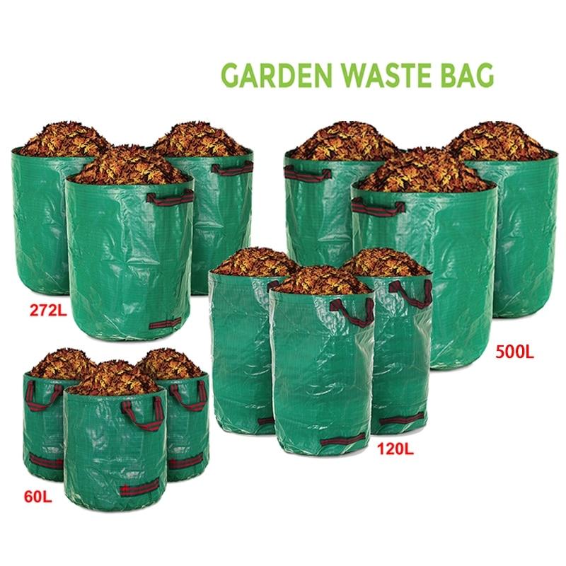 60/120/272/500L Reusable Garden Garbage Bag Leaf Sack Trash Can Foldable Garden Waste Collection Container Storage Bag