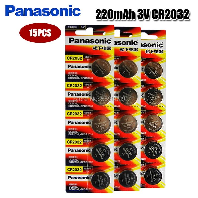 Original PANASONIC 15pcs cr2032 DL2032 ECR2032 5004LC KCR2032 BR2032 3v button battery coin lithium battery for watch toys