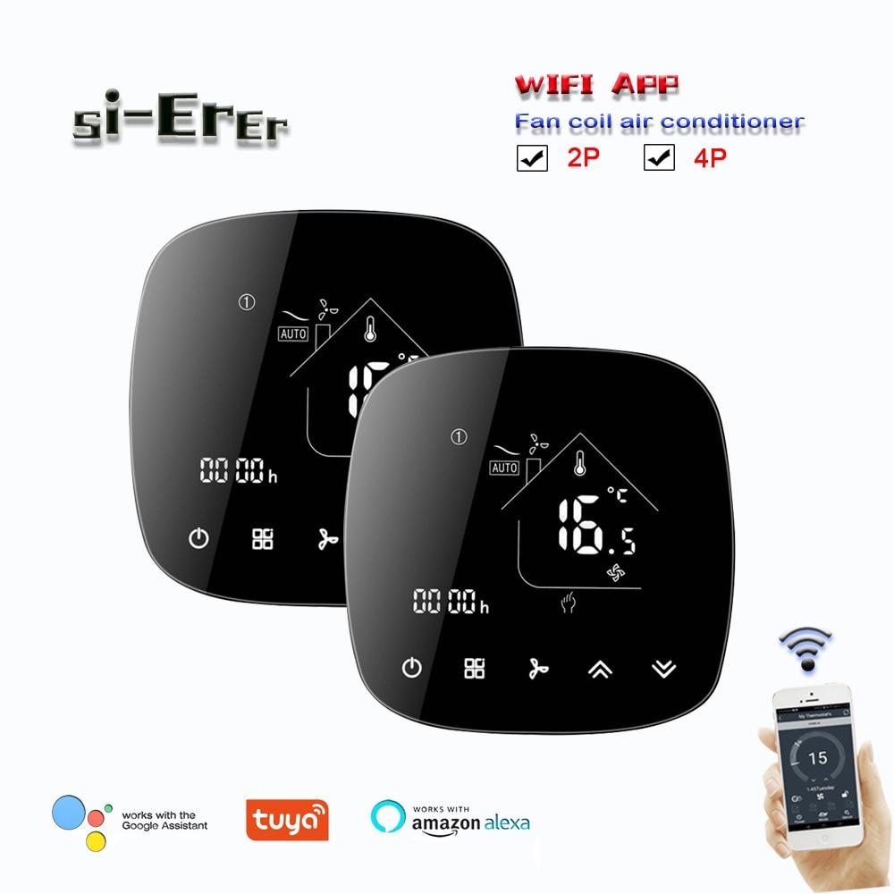 تويا واي فاي برمجة thermostat-2pipe 4 الأنابيب مروحة لفائف ترموستات للتبريد/التدفئة ، يعمل مع جوجل المنزل