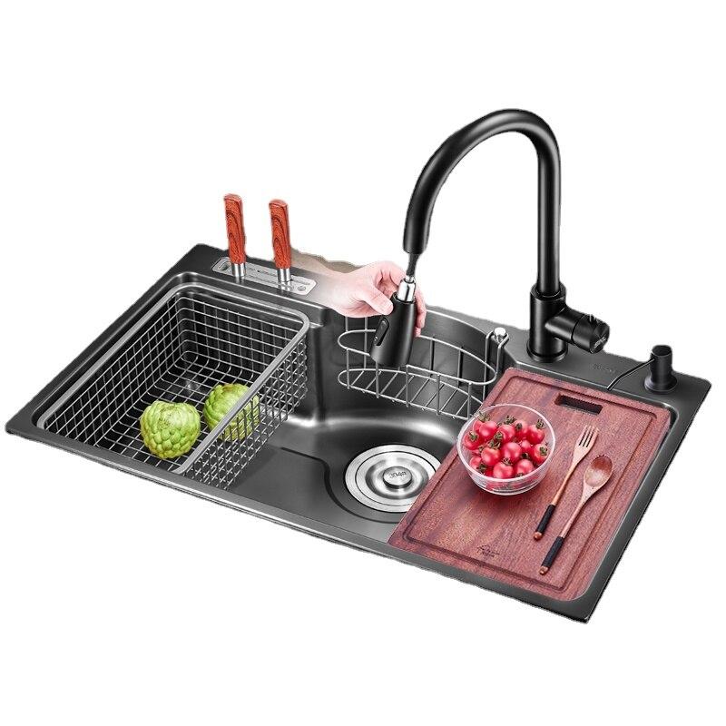 78*48 سنتيمتر الأسود نانو بالوعة واحدة حمام المطبخ 304 حوض الفولاذ المقاوم للصدأ بالوعة كبيرة متعددة الوظائف undercounter بالوعة