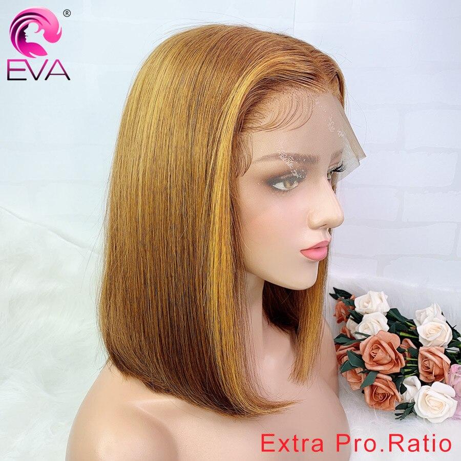 Pelucas de encaje frontal de Eva Hair 13x6 rectas Bob pre-arrancadas Extra Pro. Ratio 130/150% Ombre pelucas de cabello humano corto brasileño Remy