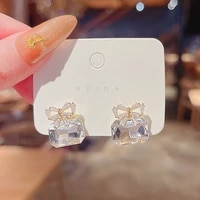 2021 new jewelry fashion crystal bowknot cube crystal earring square bow earrings for women pretty gift