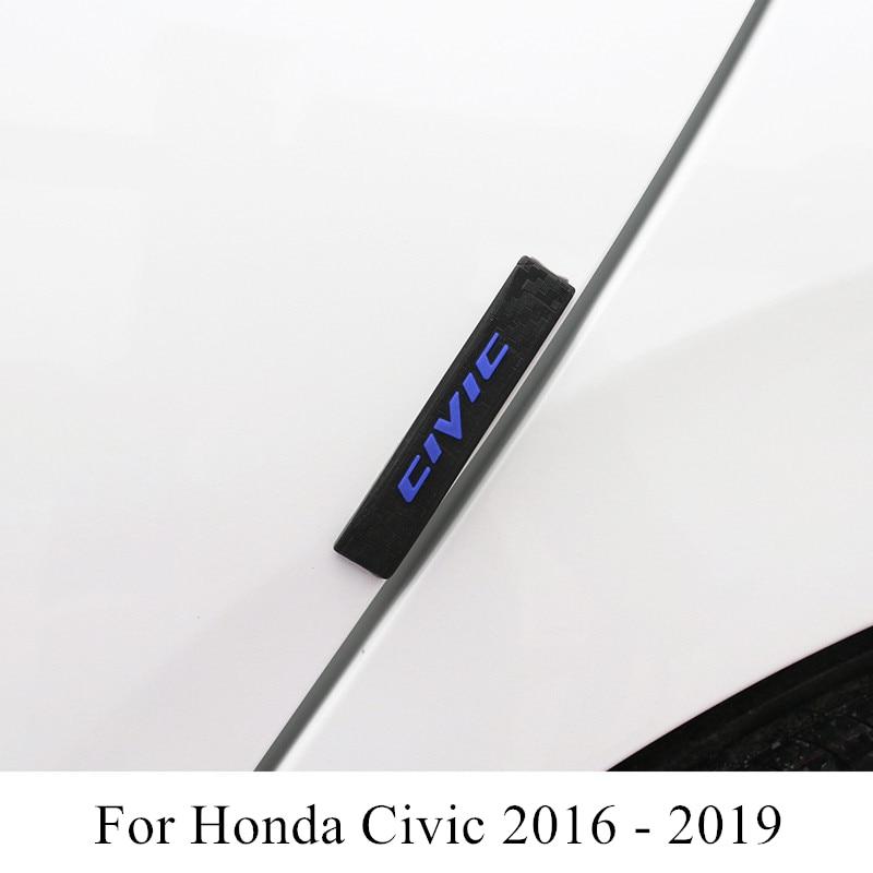 4 Pcs Car Door Anti-collision Strip 3D Rubber Protective Sticker Decoration Accessories For Honda Civic 2019 2018 2017 2016
