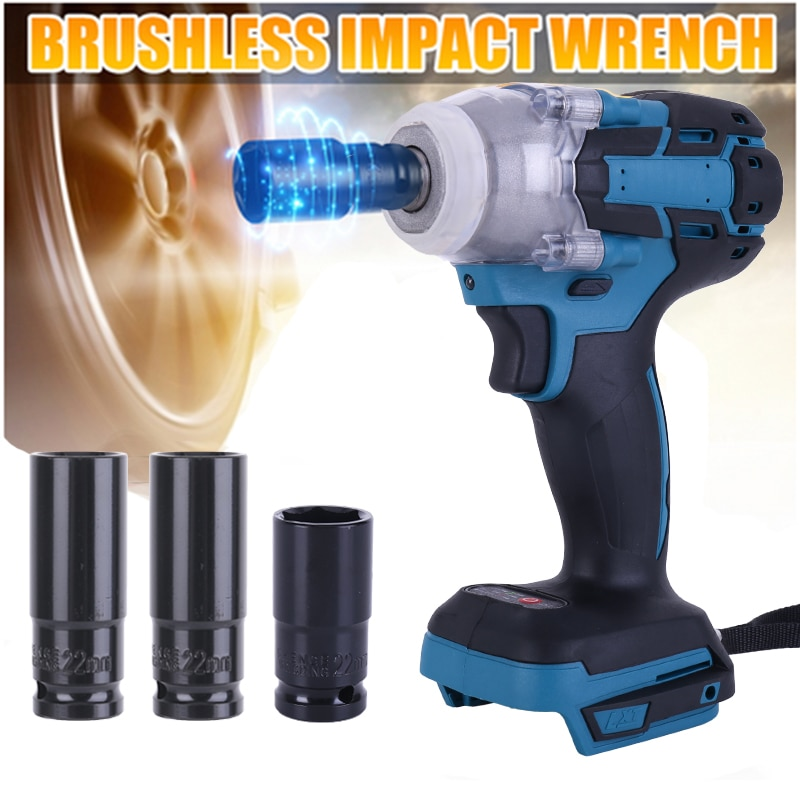 For Makita 18V Battery Cordless Electric Impact Wrench Power Tool Brushless Screwdriver Rechargeable 1/2