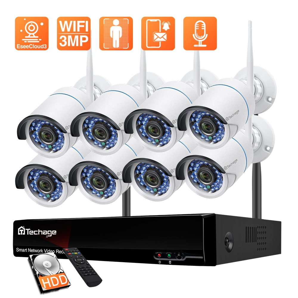 Techage 8CH 3MP Wireless NVR Kit H.265 WiFi IP Camera Set P2P Video CCTV Surveillance System Outdoor Home Security Audio Camera