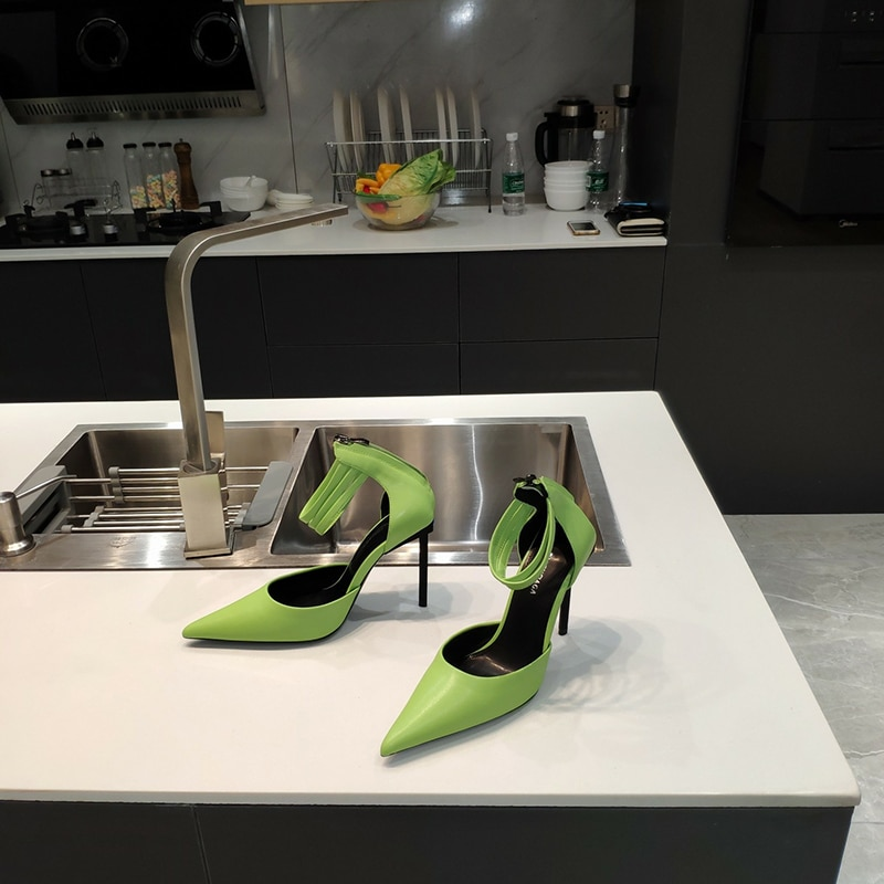 B Luxury Design Tilt Narrow Heels Women Shoes  Real Leather Super High Heels Ankle Strap Pumps Dress Party Shoes