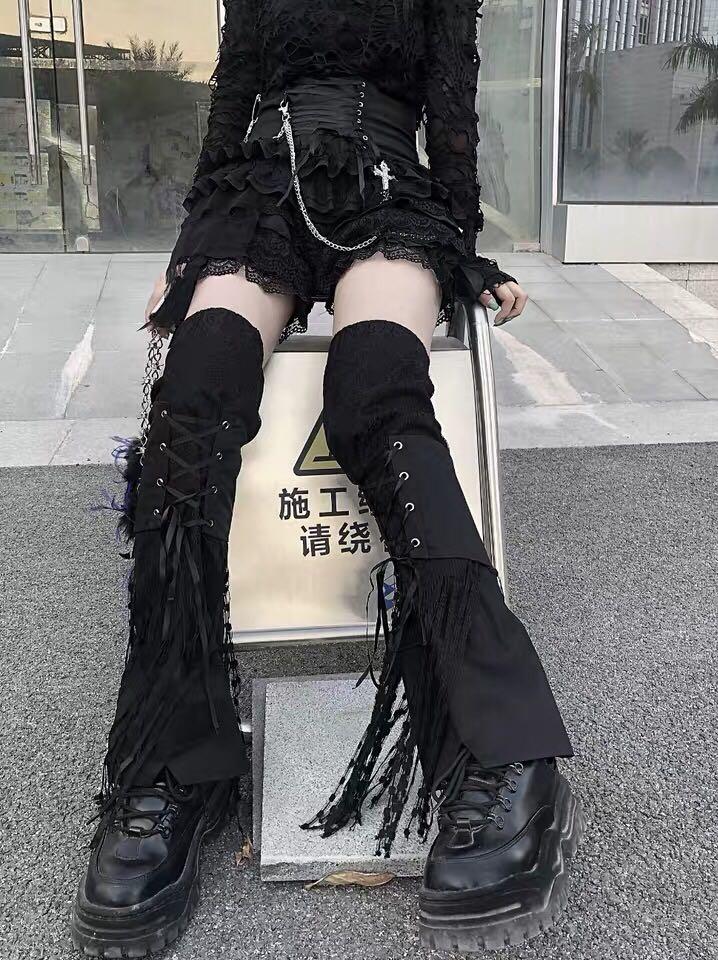 Woman Punk socks Flame printed Leg warmers Sock Bag buckles Rib Sock