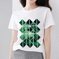 new womens t shirt basic casual slim simple style top design green geometric pattern printing round neck short sleeved soft top