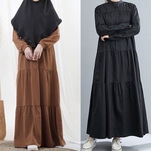Lugentolo Long Dress Women Loose Casual Muslim Fashion Abaya Button Round Neck Long Sleeve Solid Spring Dresses