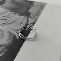 u magical simple textured cross lines hollow ring for women silver color metallic open adjustable index finger ring jewellery
