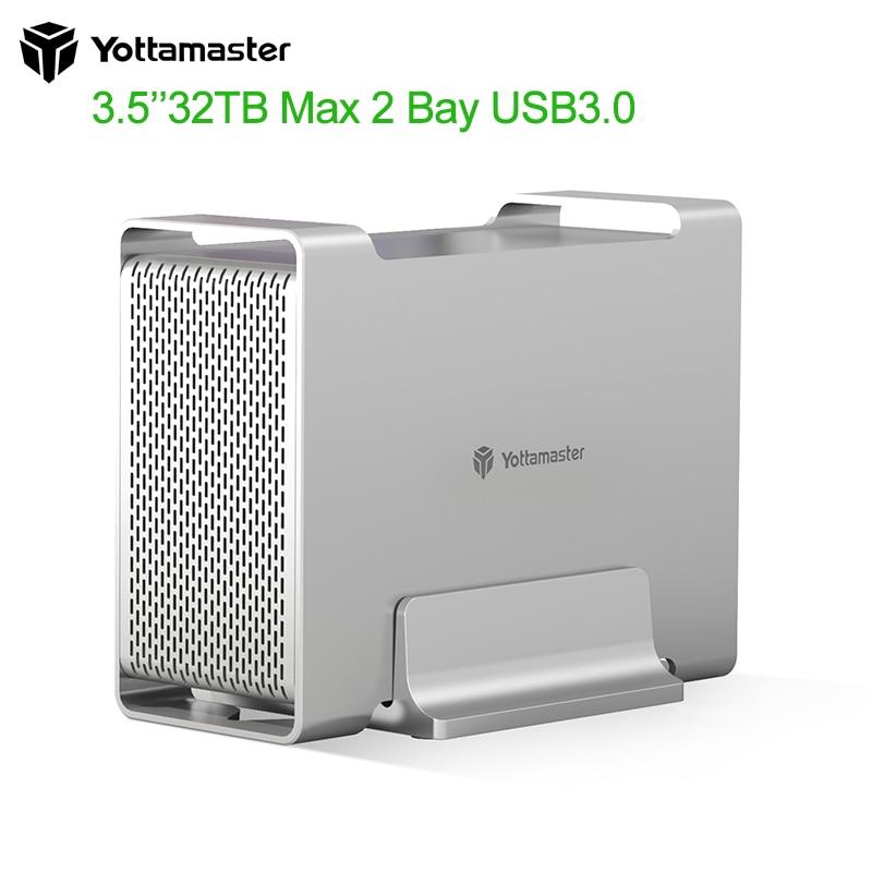 Yottamaster DR2RU3-35 HDD/SSD Case SATA3.0 5Gbps UASP Supported 32TB Max hard disk External USB3.0 Raid Hard Drive Enclosure SSD