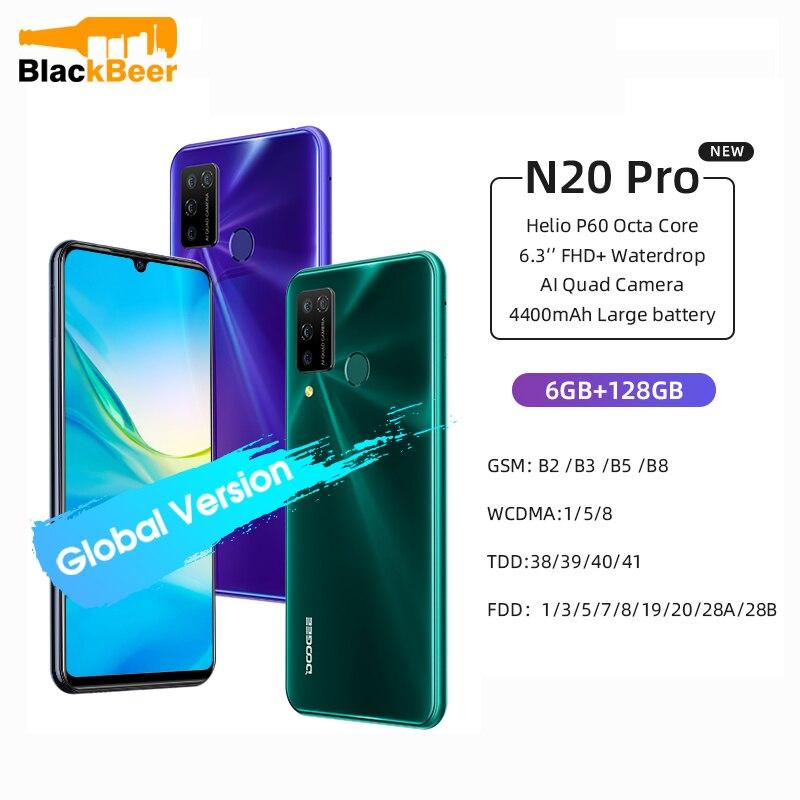 Перейти на Алиэкспресс и купить DOOGEE N20 Pro 6,3 дюйммобильный телефон Helio P60 восьмиядерный смартфон 6 ГБ ОЗУ 128 Гб ПЗУ Android 10 Мобильный телефон 16MP Quad Camera 4400 мАч