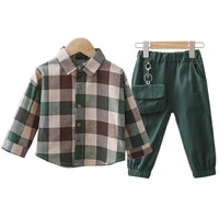 2pcs children clothing sets cotton toddler plaid lapel shirtpants for boys clothes outfit spring autumn baby kids clothes sets