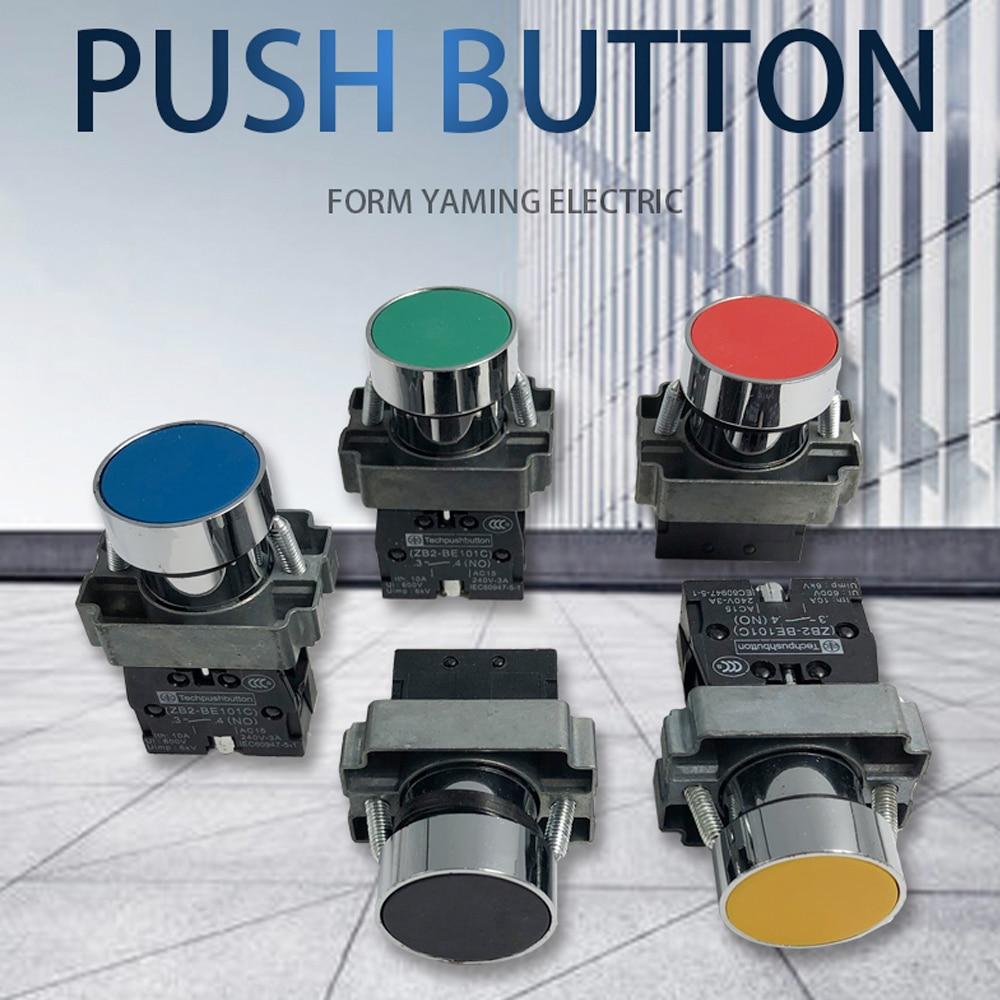 P47 Momentary Push button switch 22mm 10A 240V~3A Circular small size Flat round Panel NC/NO XB2-BA31 XB2-BA42