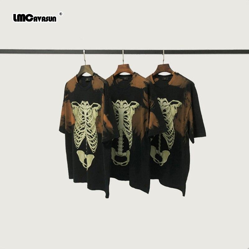 LMC / Vintage Tie-Dye esqueleto camiseta Hip Hop relajado Raglan Camiseta de algodón estampado con dibujo Tops Streetwear