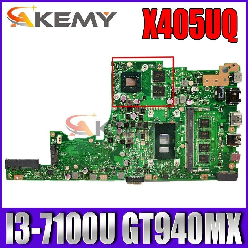 Akemy X405UQ اللوحة لابتوب ASUS VivoBook 14-X405UQ X405U S4100UQ U4100UQ اللوحة الأصلية 4GB-RAM I3-7100U GT940MX