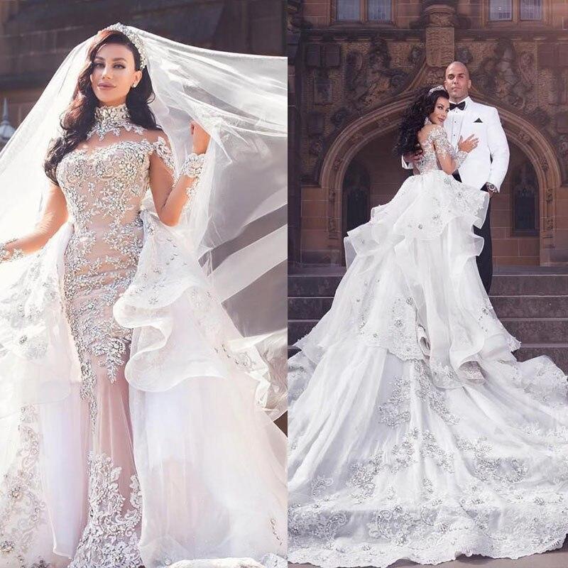 Lujoso vestido de novia con cuentas de cristal sobrefalda mangas largas vestido de novia corte sirena precioso vestido de novia Dubai tren desmontable