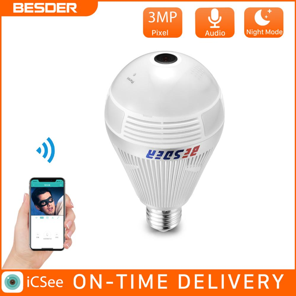 BESDER 3MP WiFi bombilla de seguridad panorámica de dos vías de Audio Superior Cámara 360 grados ojo de pez Len casa cámara IP de seguridad tarjeta SD