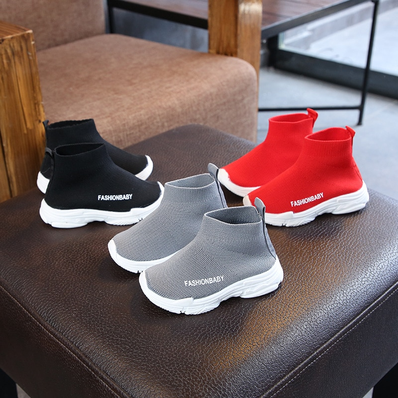 Autumn Winter Kids Sneakers Children Casual Shoes Slip-on Breathable Kids Socks Shoes Non-slip Snow Boots Boys Girls Sport Shoes