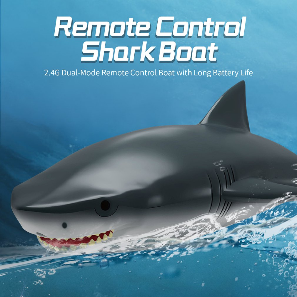 2 In 1 2.4G High-speed Remote Control Shark Boat Electric RC Ship Speedboat Shark RC Simulation Boat Model Toys for Children