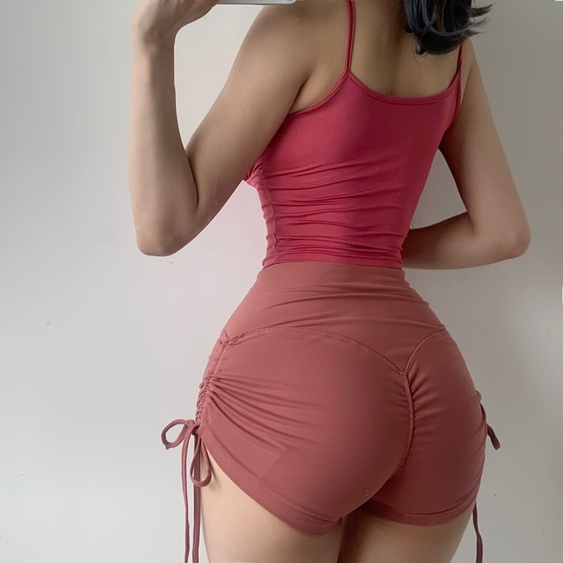 Summer high waist stretch tight super shorts female gym sports shorts drawstring lace shorts ins up to the same paragraph