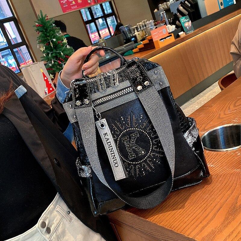 Женский рюкзак Роскошный дизайнерский кожаный рюкзак модная Бриллиантовая сумка через плечо, маленький дорожный рюкзак, школьные сумки дл...