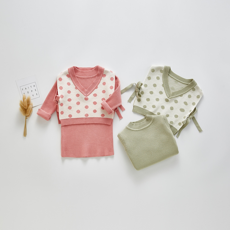 3071 bebé niñas Chaleco de punto y vestido de Otoño de bebé de dos piezas traje de 2 piezas traje de punteado vestido de Jersey de punto 6m 9m 12m 24m