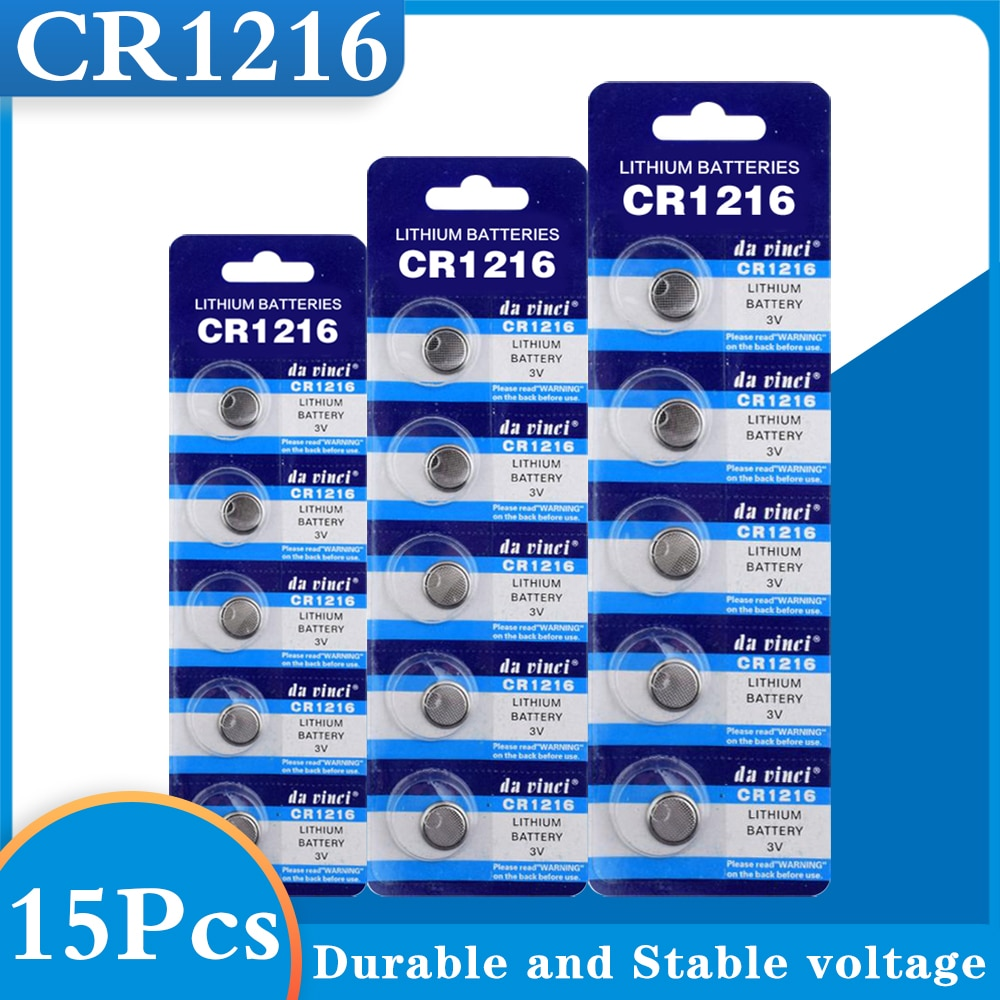 15Pcs CR1216 Button Batteries DL1216 BR1216 Cell Coin Lithium Battery 3V CR 1216 5034LC For Watch Electronic Toy Remote
