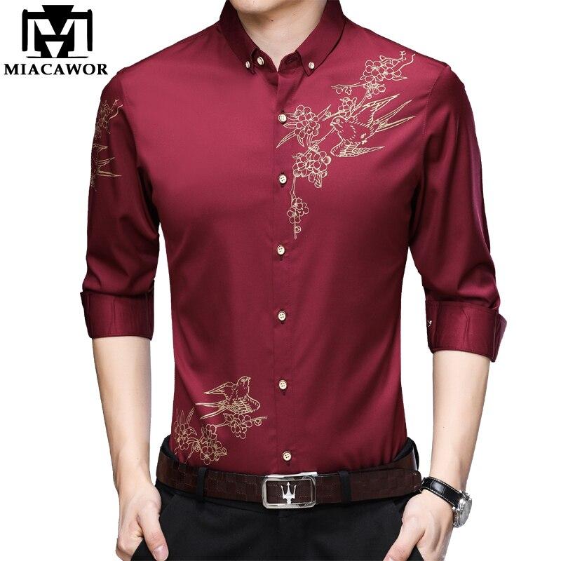Miacawor camisa de manga longa masculina casual botão vestido de lapela camisas fino ajuste flor impressão masculina streetwear c646