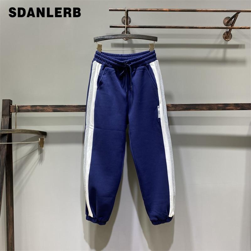Новинка 2021, зимние цветные контрастные Лоскутные тренировочные брюки с эластичным поясом, женские утепленные спортивные штаны для отдыха с...
