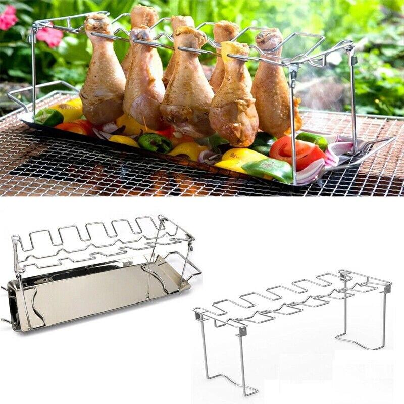 Куриное крыло и стойка для ног 14 слотов из нержавеющей стали куриные ножки гриль стойка куриные голени жаровня для духовки Гриль Инструменты для барбекю