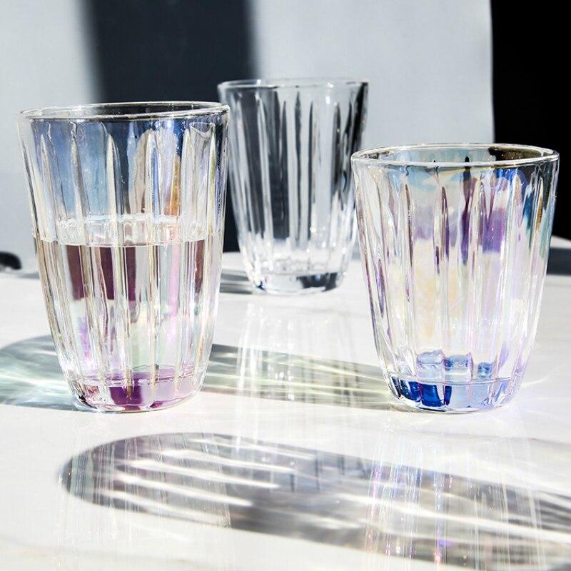 Taza de agua de cristal con Raya Vertical de colores, vaso redondo...