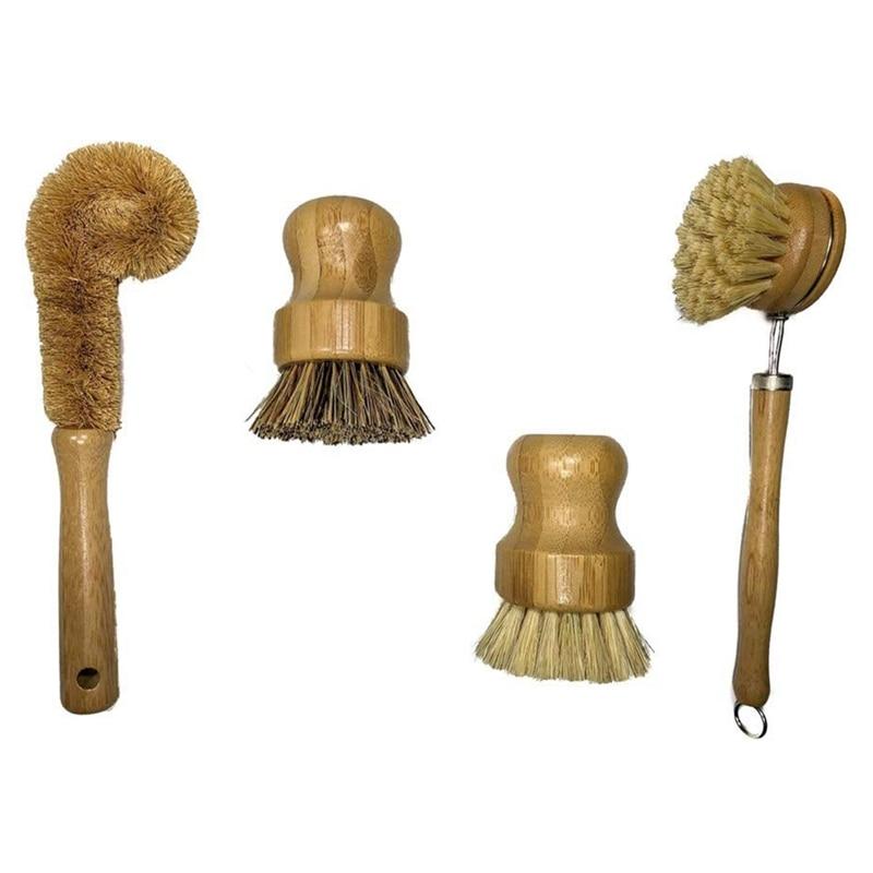Jeu de brosses nettoyantes à base dusine   Ensemble de 4 brosses à récurer en bambou de cuisine, vaisselle, bidon, bouteille, Pot, Pot, poêle à frire et légumes
