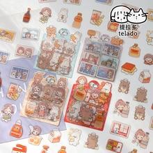 JIANWU 40Pcs/Set Mini Abu Series Sticker Comics Cartoon Kawaii Girl Stickers Phone Laptop Decoration Cute Sticker Bag Stationery