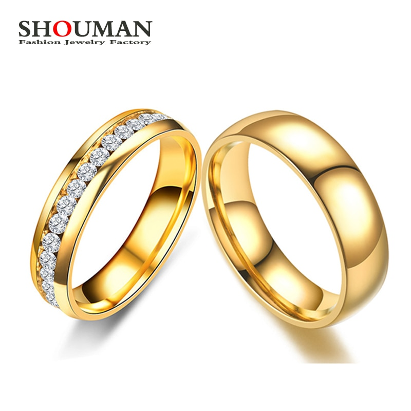 SHOUMAN Gold Color Lover Crystal Stainless Steel Rings for Men Women Wedding Band Custom Engrave Name Charm Gift tailor made luxury western rose gold color inlay health surgical stainless steel wedding bands rings sets