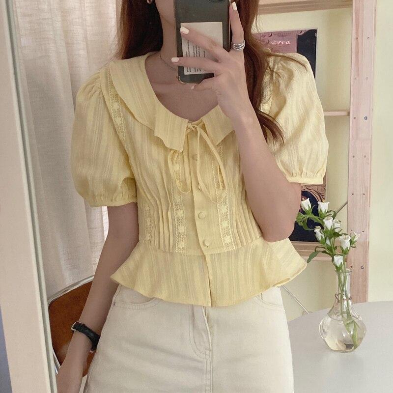 ¡Novedad de 2020! Blusa con bordado de flores de color liso de Alien Kitty, camisa elegante de cintura alta con un solo pecho para mujer, blusa holgada con mangas abullonadas
