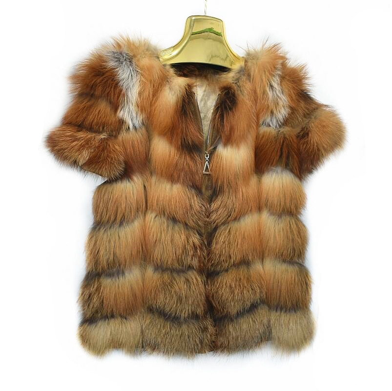 2020ladies new natural red fox coat fire fox vest real fox fur jacket with zipper short-sleeved vest European street style