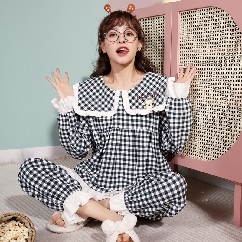 2021 New Style Pajamas Women's Winter Cotton Long Sleeve Thin Cute Plaid Home Clothes Set Can Be Wor