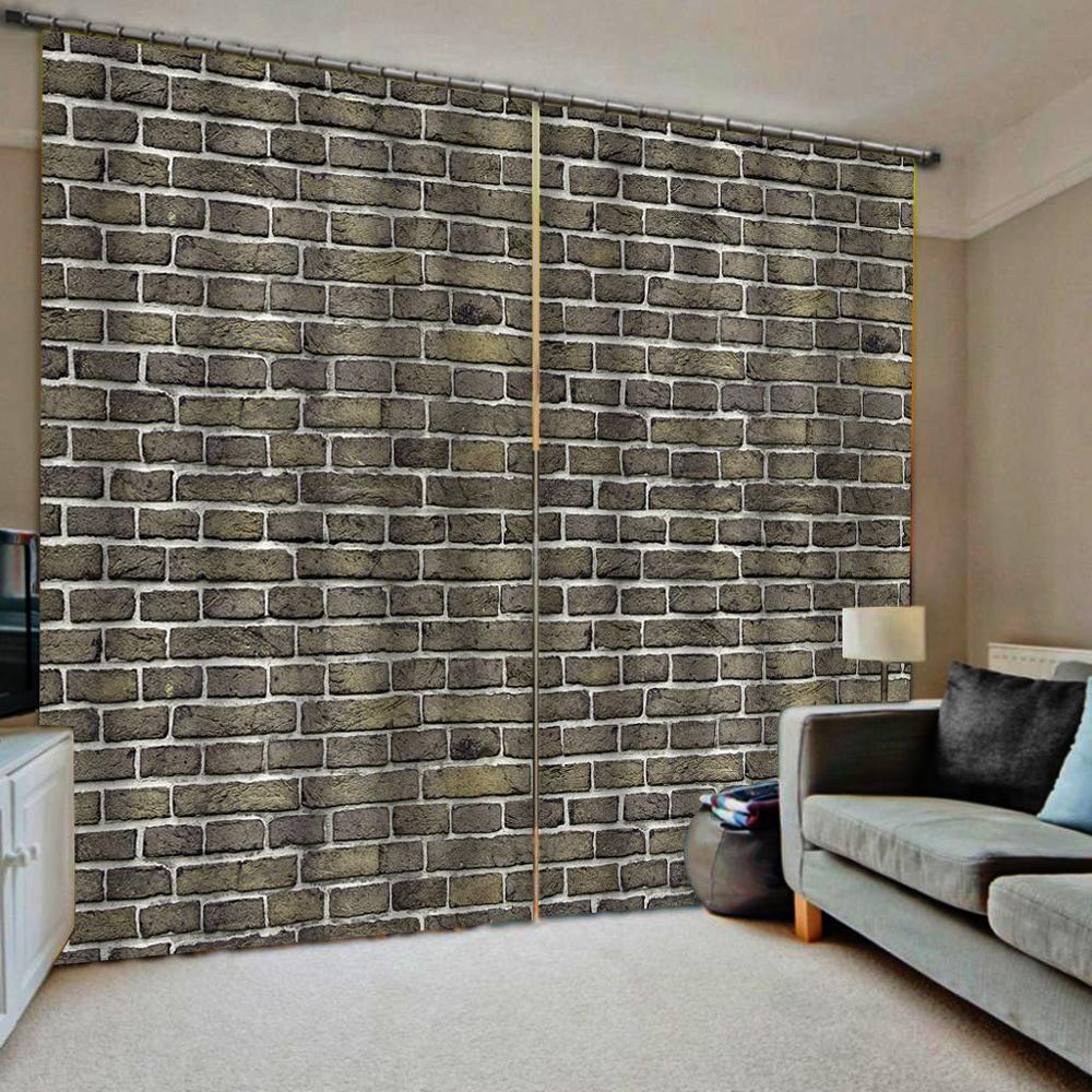 Personalizado 3d cinza tijolo parede do vintage 3d impressão cortinas para sala de estar janela cortinas blackout (lado esquerdo e direito)