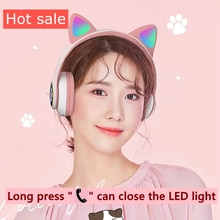 UDJ Wireless Bluetooth Cat Ear Headset Supports Head-Mounted RGB Adapter PS4 Gamer PC Phone LED Chil